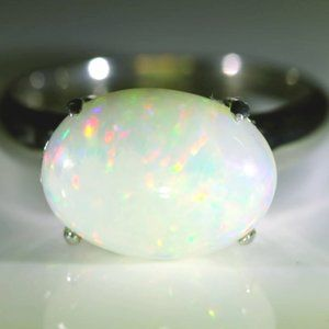 Jewelry - Welo Opal 4.42ct Platinum Solid Silver Ring